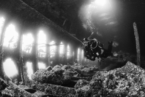 Fighting the current in the wreck of the Tabarka, Block S... by Jim Garland